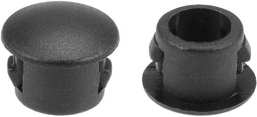 100 Pcs 6mm Snap in Locking Hole Tube Flush Type Panel Plugs Hole Plugs Black