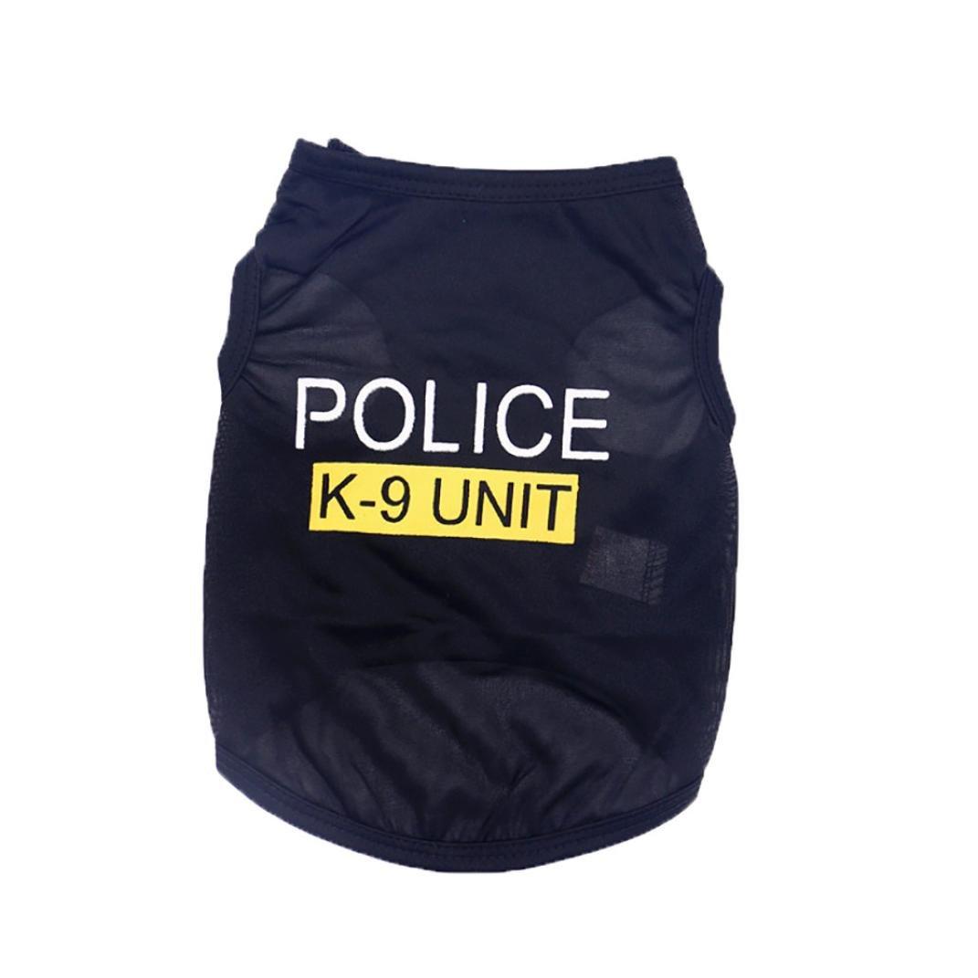 Wakeu Pet Shirt Small Dog Cat Clothes Puppy Police K-9 Unit Pattern Vest T-Shirt Pet Summer Apparel (XS, Black)