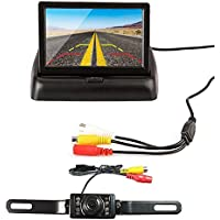 4.3 Foldable Car TFT LCD Monitor with 7 LED Night Vision Reverse Rear View Backup Camera Parking System Set (4.3 inch foldable)