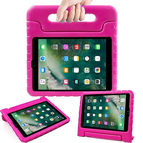 AVAWO Kids Case for New iPad 9.7 2017 & 2018 Release - Light Weight Shock Proof Convertible Handle Stand Friendly Kids Case for iPad 9.7-inch 2017 & 2018 Latest Gen (iPad 5th & 6th Gen - Magenta/Rose (Ipad Cases For Kids Girls)