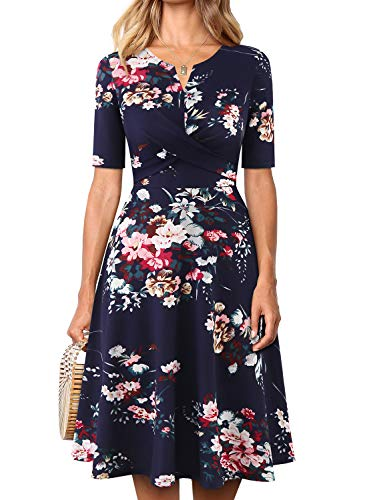 - YATHON Women's Fit and Flare Fall Dresses Retro Navy Multi Floral Print Elbow Sleeve V-Neck Ruched Going Out Swing A-Line Party Casual Work Dress (S, YT026-Navy Floral hs 01)