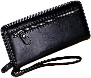 Mens Womens Black PU Leather Cash Card Holder Purse Clutch Long Wallet New