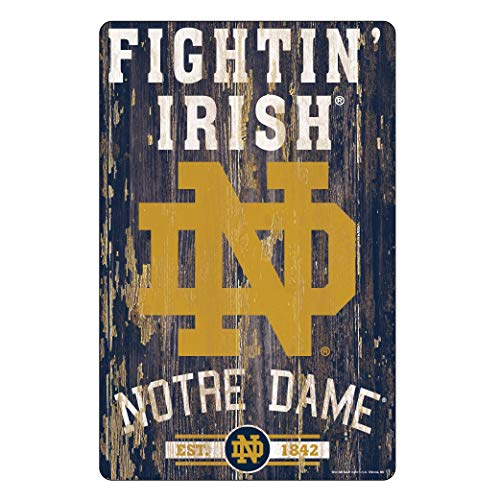 WinCraft NCAA Notre Dame Fighting Irish 11x17 Wood Sign, Team Color, One ()