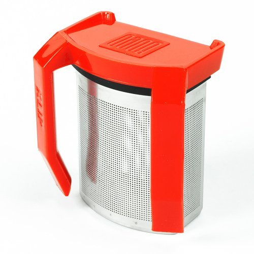 Boco Clip On Tea Infuser Brewer For Office w/ Drip Catcher. Sip While Brewing Too! (KLiP - Red)