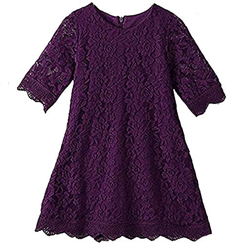 (Lace Flower Girl Dress Elegant Bridesmaid Dress Wedding Party Fall Holiday Pageant Girl Dress Formal Ball Gowns Long Sleeve Knee Length Christmas Easter Flower (Purple)