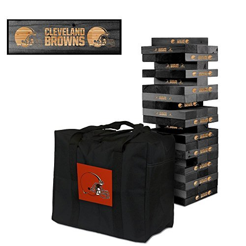 NFL Cleveland Browns NFL 858045Cleveland Browns NFL Onyx Stained Giant Wooden Tumble Tower Game, Multicolor, One - Blocks Nfl Wooden