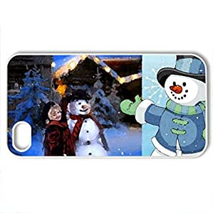 Wonderful childhood - Case Cover for iPhone 4 and 4s (Winter Series, Watercolor style, White)