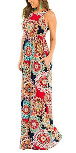 ZRMY Womens Floral Print Sleeveless Tunic Maxi Dress Casual Racerback Beach Long Dress Pockets