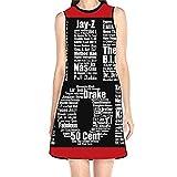 Women's Sleeveless Sundress Hip Hop in Black Print T-Shirt Dress A-Line Tunic Shirt