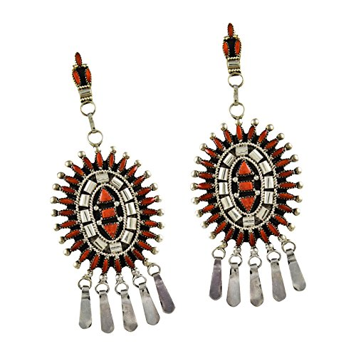 Evonne Hustito Sterling Silver Coral Needlepoint Earrings (Sterling Silver Zuni Needlepoint)