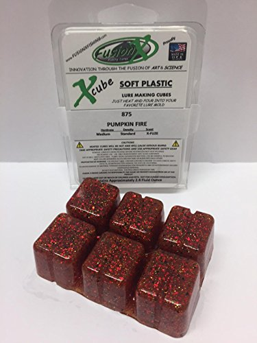 FUSION X FISHING - Xcube Soft Plastic Plastisol Fishing Lure Making Cubes - Single Pack 2.8 fl oz - 225 Colors - Make your own soft plastic rubber fishing lures. (875 - PUMPKIN FIRE)