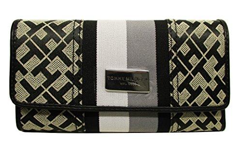 - Tommy Hilfiger Stripe Wallet Checkbook Black Canvas