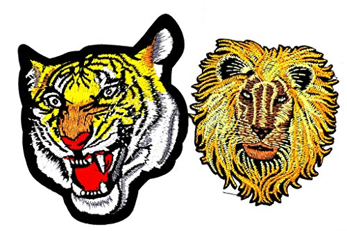Pp patch set 2 the roaring striped tiger head face animal wild. lion