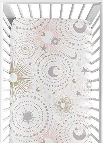 - Blush Pink, Gold, Grey and White Star and Moon Baby or Toddler Fitted Crib Sheet for Celestial Collection by Sweet Jojo Designs