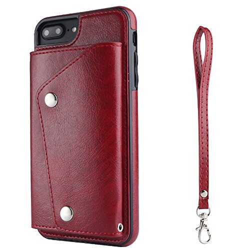iPhone 6 PU Leather Phone Case Wallet Smart Cover with Card Holder Hand Straps, - Leather Fire Wallet Case Phone