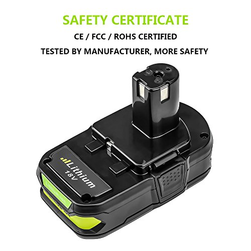 Battery for Ryobi 18v 2500mAh, Fhybat P102 Lithium Replacement 18 Volt ONE+ P108 P100 P104 P105 P110 Cordless Power Tools Batteries (2Packs) by Fhybat (Image #3)