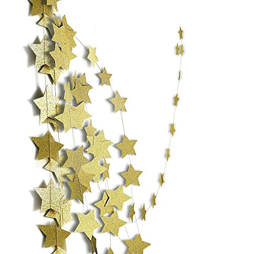 Gold Sparkling Star Garland Party Decoration ,Gold glitter star Great For Christmas, Weddings, Birthday Parties, Bridal Showers, Holidays, Baby Showers,Party Decoration,Event & Party Supplies Set of 4 by Yiwu Bode