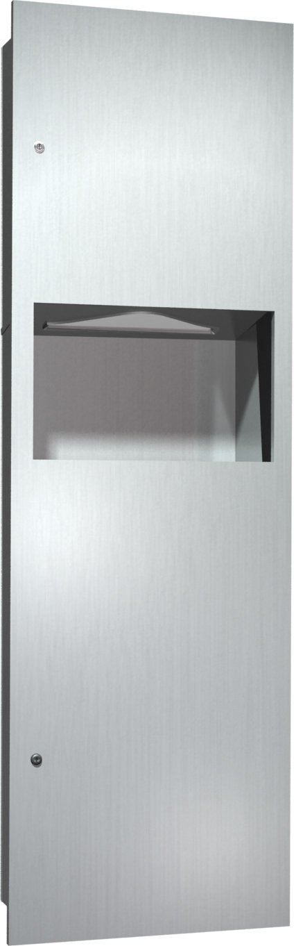 ASI 0462-AD-9 Paper Towel Dispenser and Waste Receptacle with Stainless Steel Collar for Surface Mounting