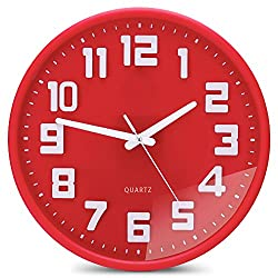 Egundo 3D Digital Red 12 Inches Round Wall Clock Non-Ticking Sweep Quartz Movement Plastic Frame Hands Elegant Decoration for Bedrooms Living Room and Office
