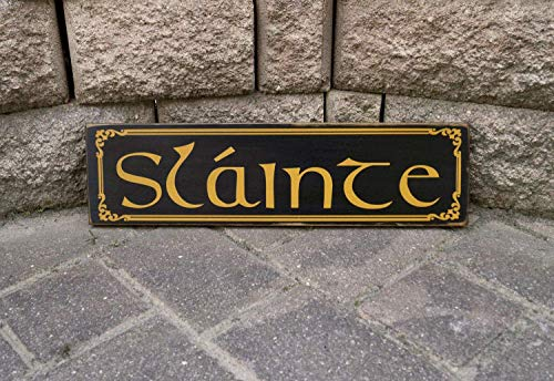 Hand Painted Pub Signs - MaxwellYule 14x50cm Slainte Cheers Irish Sign Pub Sign Bar Sign Man Cave Decor Beer Sign Bar Decor Hand Painted Decorative Sign Wood Plaque for Housewarming Gift 844210