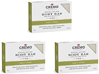 product image for Cremo Exfoliating Body Bar, A Revitalizing Combination of Bright Mandarin, Dry Herbs and White Cedar, 6 Oz (3-Pack) (10858098007916), Sage & Citrus