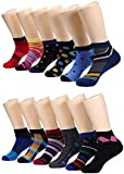 Marino Avenue Mens Low Cut Colorful Dress Socks - Funky Athletic Ankle Socks - Style 2 - 12 Pack - Size 10-13