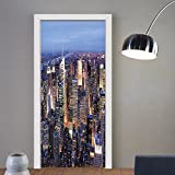 Gzhihine custom made 3d door stickers New York Decor Aerial View of NYC Full of Skyscrapers Manhattan Times Square Famous Cityscape Panorama Blue For Room Decor 30x79