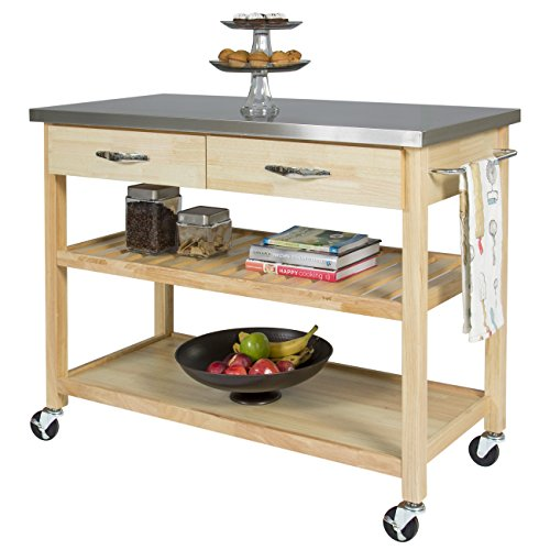 Best Choice Products Natural Wood Mobile Kitchen Island Utility Cart with Stainless Steel Top Restaurant - Modern Kitchen Island