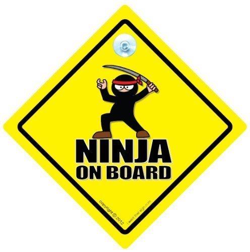 FUNNY SIGNS iwantthatsign.com Ninja On Board Car Sign, Ninja, Ninja Sign, Baby On Board Sign Style, Bumper Sticker, Decal, Self Defence, Karate, Kung Fu, Black Belt On Board