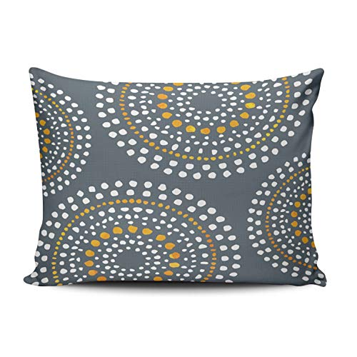 WEINIYA Bedroom Custom Decor Primitive Boho Mosaic Pattern Gold Gray White Throw Pillow Cover Cushion Case Fashion One Sided Printed Design Queen 20x30 Inches ()