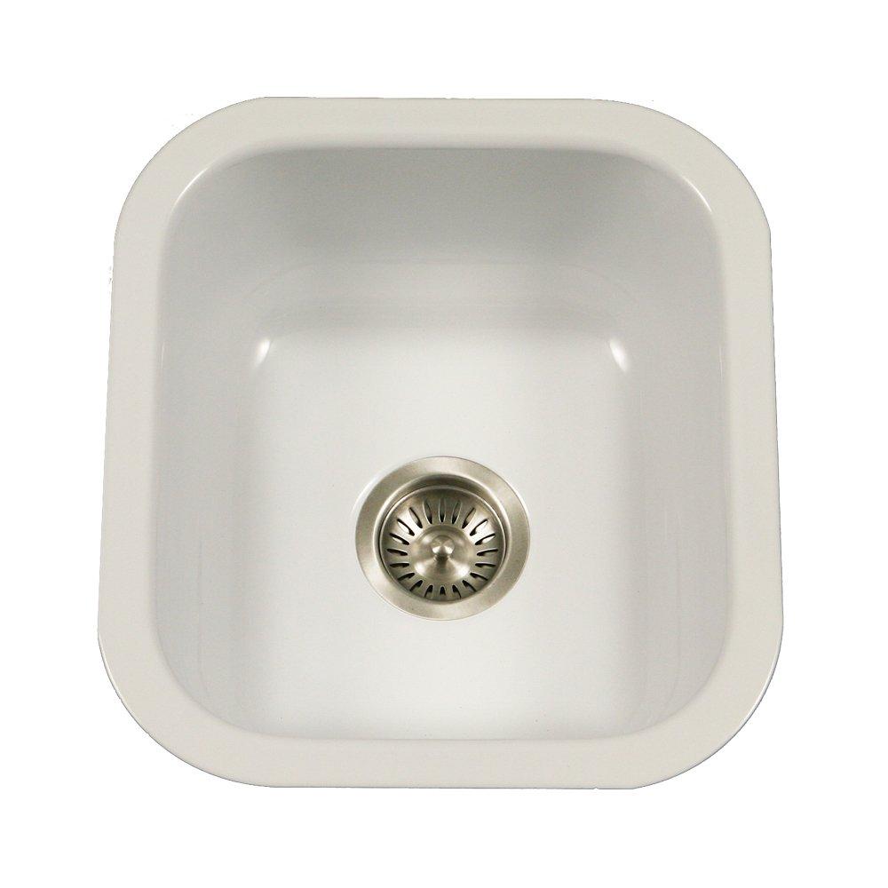 Houzer PCB-1750 WH Porcela Series Porcelain Enamel Steel Undermount Bar/Prep Sink, White by HOUZER