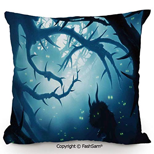 Decorative Throw Pillow Cover Animal with Burning Eyes in Dark Forest at Night Horror Halloween Illustration for Pillow Cover for Living Room(16