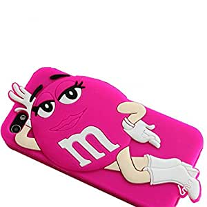 Sexy 3D Cartoon Milk Chocolate Dancing Bean Girl Bean Soft Silicone Phone Case For Iphone 4 4S 4G Rose