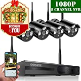 【2019 Update】OOSSXX 8-Channel HD 1080P Wireless Security Camera System(IP Wireless WiFi NVR Kits),4Pcs 1080P Megapixel Wireless Indoor/Outdoor IR Bullet IP Cameras,P2P,App,No Hard Drive