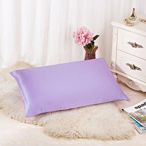 ALASKA BEAR Luxurious 25 momme Silk Pillowcase, 100% Mulberry Silk Pillow Cover, King (1, Lavender)