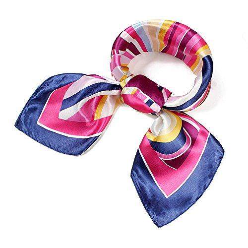 QBSM Womens 23.6 35.4 inch Satin Silk Feeling Formal Square Neck Scarf Head Hair Wraps