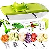 Adjustable Mandoline Slicer Stainless Steel - Vegetable Spiralizer - Potato Chip Maker with Julienne Slicer - Mandolin Food Cutter for Fruits and Veggies - Kitchen Slicer 5 in 1 with 4 Kitchen Gifts