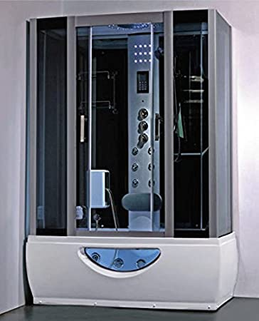 cabina con vasca idromassaggio da 150x85 sauna bagno turco miscelatore termostatico vetro frontale