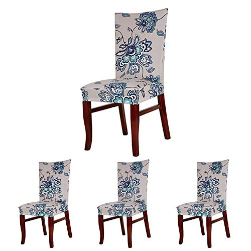 Lihailewo Stretch Chair Seat Cover 2/4/6 PCs Removable Washable Dining Room Stool Chair Decoration Lycra Spandex Slipcovers for Hotel Restaurant Party Dining Room (4, - Chair Dining Slipcover Casual