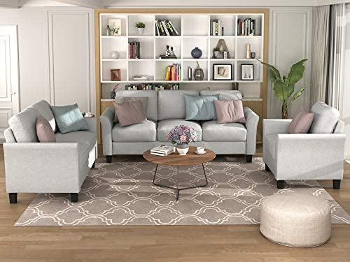 MGH Living Room Sofa Sets, 3 Piece Sectional Sofa, Modern Couch Furniture Upholstered 3 Seat Sofa Couch Loveseat Single Sofa Chair for Living Room, Bedroom, Office, Apartment, Small Space(Light Gray)