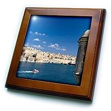 Danita Delimont - Malta - View of Valletta with Grand Harbor seen from Senglea, Malta. UNESCO - 8x8 Framed Tile (ft_208145_1)