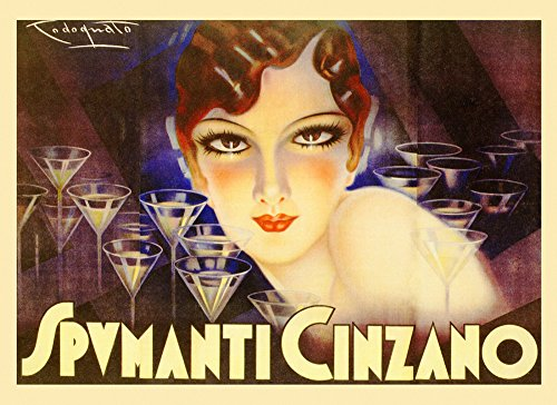 (Fashion Lady Girl Drinking Glass Spumanti Cinzano Italy Italia Italian Drink Vintage Poster Repro (16