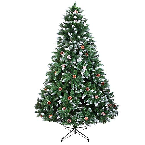 usikey Christmas Tree with Flocked Pine Cones, 6 FT Automatic Branching Artificial Tree with 1000 Tips, Xmas Full Tree with Metal Stand for Living Room, Indoor and Outdoor Holiday Decoration, Unlit (Trees Xmas Flocked)