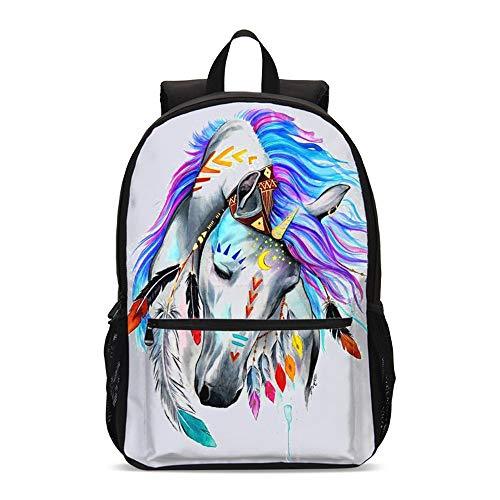 ShowRoom16 Indian Style Horse Students 17 inches Backpack Schoolbag Insulated Lunch Bag Cross-body Bag Pen Case Gift(Backpack Only)