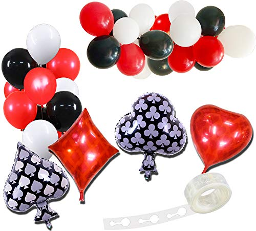 (Casino Party Decorations Balloons Las Vegas Theme Party Decoration Red Heart Diamond Black Spade Club Balloon Casino)