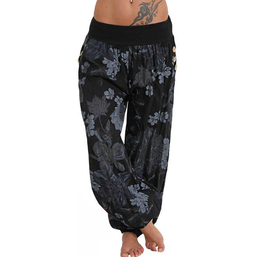 LOVELYOU Femme Bloomers Yoga Pantalon Sarouel Imprimé Capris Mode Baggy Harem Running Sport Casual Pants