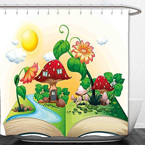 180X 180CM Spanish House Print Polyester Fabric Shower Curtain - 5