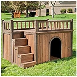 Wooden Outdoor Dog House with Balcony and Staircase - Large