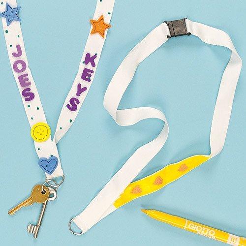 Blanko-Schlüsselbänder aus Plastik - Einlegeblatt für Kinder zum Bemalen - Geschenk zum Muttertag - Vatertag (4 Stück)