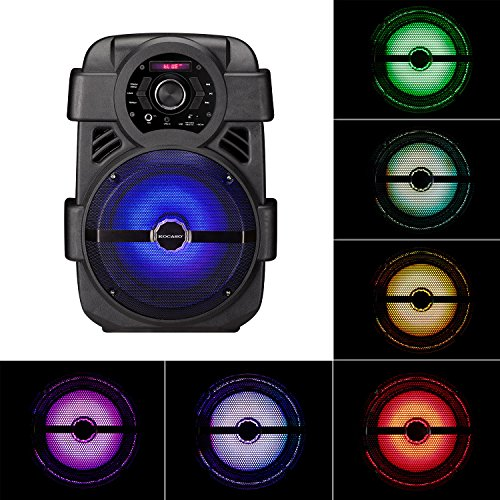 KOCASO Portable Standing Rainbow LED Bluetooth/Wireless PA Heavy Bass Party Speaker W/Built-In Woofer. USB/AUX Slot/Built-In Rechargeable Battery/FREE Wired Microphone Speaker- Karaoke/Home/Outdoor (Kocaso Wireless Speaker)
